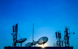 Satellite Dish and Communication Tower. Stock Images