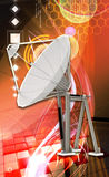 Satellite dish. Digital illustration of satellite dish in colour background stock photography