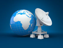 Satellite dish and earth. 3d Royalty Free Stock Photography