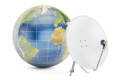 Satellite dish with earth, global telecommunications concept. 3D Royalty Free Stock Photography