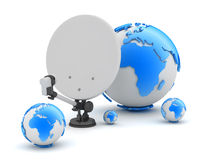 Satellite dish and earth globe Royalty Free Stock Images
