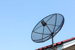 Satellite dish. Equipment used for the reception of television in rural communities Royalty Free Stock Images