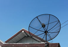 Satellite dish. Equipment used for the reception of television in rural communities Royalty Free Stock Photo