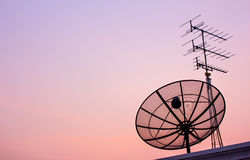 Satellite dish on Evening light Royalty Free Stock Images