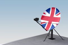 Satellite dish with the flag of Great Britain. 3d rendering royalty free illustration