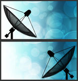 Satellite dish on global background for Communication and techno Royalty Free Stock Photo