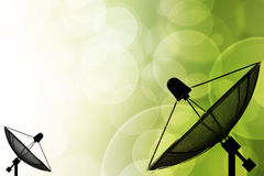 Satellite dish on global background for Communication and techno Stock Image
