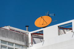 Satellite dish on the house. Image of satellite dish on the house Stock Photo