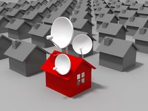 Satellite dish and houses Royalty Free Stock Photos