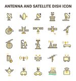 Satellite Dish Icon. Antenna and satellite dish vector icon set Royalty Free Stock Photography