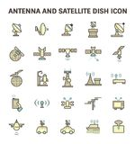 Satellite Dish Icon. Antenna and satellite dish vector icon set Royalty Free Stock Images