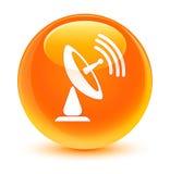 Satellite dish icon glassy orange round button Stock Photo