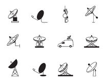 Satellite dish icon set Royalty Free Stock Photos