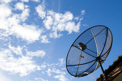 Satellite Dish Install on the Roof. Stock Photos