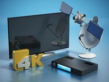 Satellite, dish, 4K ultra HD receiver and TV. 3D illustration Stock Image
