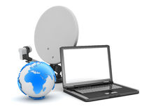Satellite dish, laptop and earth globe Stock Photo