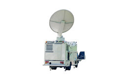 Satellite Dish on Mobile DSNG on white  background. Stock Photo