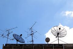 Satellite Dish and radio antenna Royalty Free Stock Photo