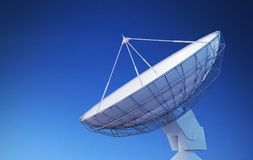 Satellite dish or radio antenna against blue sky. 3D rendered illustration Royalty Free Stock Image