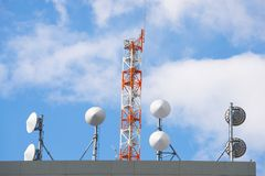 Satellite dish for receiver and other telecommunications. On top floor building Royalty Free Stock Image
