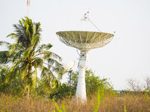 Satellite dish receiving data signal for communication Stock Photos