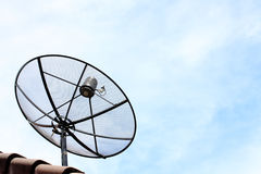 A satellite dish on the roof. Royalty Free Stock Photo
