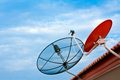 Satellite dish on the roof. Two kind of satellite dish on the roof Royalty Free Stock Photography