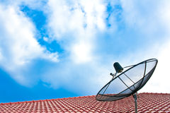 Satellite dish on the roof Stock Image