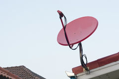Satellite dish on the roof. Royalty Free Stock Photography