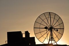 Satellite dish on a roof Royalty Free Stock Photography
