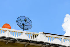 Satellite dish on the roof with blue sky Stock Photography