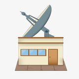 Satellite dish roof. A large satellite dish on the roof. the building of the radio Studio. antenna.  on a white background Royalty Free Stock Photo