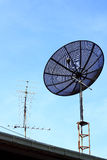 Satellite dish on roof Stock Photography