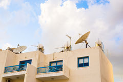 Satellite dish on the roof. Royalty Free Stock Photos