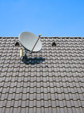 A satellite dish on the roof Stock Photography
