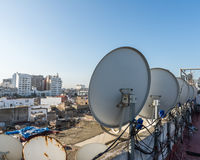The satellite dish on the roof top of building in Casablanca Stock Photos