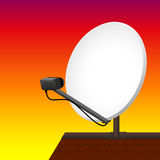 Satellite Dish Rooftop Sunset. Satellite dish on rooftop to receive signals for television, radio, internet. Vector illustration on sunset gradient background Royalty Free Stock Image