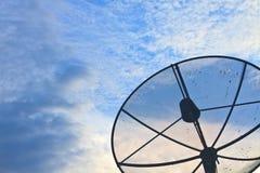 Satellite dish on sky sunset Royalty Free Stock Photo
