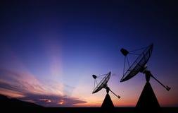 Satellite dish sky sunset Royalty Free Stock Image