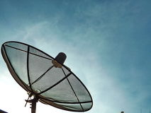 Satellite dish sky sunset communication. Technology  television Royalty Free Stock Image