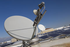 Satellite Dish With Solar Panels Stock Photography