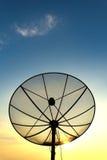 Satellite dish. On sunset blue sky, skies Royalty Free Stock Photography