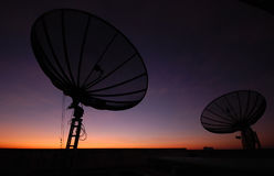 Satellite dish sunset. Communicatin industry Royalty Free Stock Photo