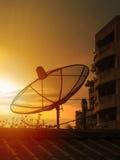 Satellite dish. At sunset time, beautiful colors Stock Image