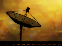Satellite dish. At sunset time, beautiful colors Royalty Free Stock Photo