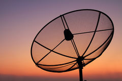 Satellite dish. In sunset time. twilight sky Stock Photography