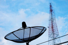 Satellite dish and telecommunications tower. With blue sky Royalty Free Stock Image