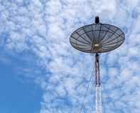 Satellite Dish Tower. Over Blue Sky And Beautiful Cloud Background Royalty Free Stock Images