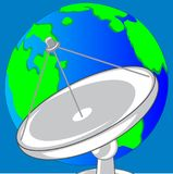 Satellite dish and planet land. Satellite dish for transceiving the signal and planet land Royalty Free Stock Images