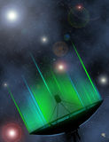 Satellite dish transmission data. Backgroud universe royalty free illustration
